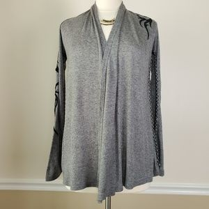 XTAREN Gray With Black Embroidery Cardigan
